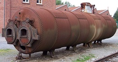 An industrial boiler used for a stationary steam engine