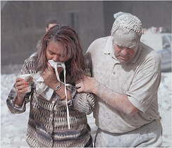 Survivors were covered in dust after the collapse of the towers.