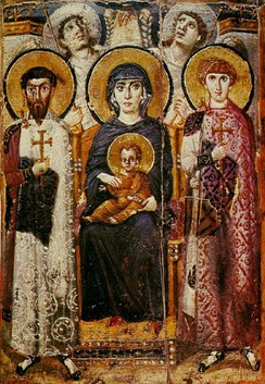 Virgin and Child with angels and Sts. George and Theodore. Icon, c. 600, from Saint Catherine's Monastery.