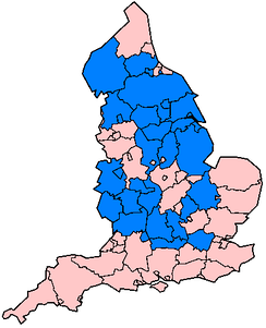 Administrative counties in England affected in June and July 2007 floods as of 24 July (marked in blue).