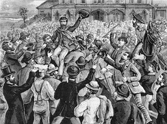 A large crowd outside the Victorian Supreme Court, celebrating the release of the Eureka rebels in 1855