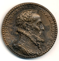 "Head of a bronze medal with the effigy and the cuirass of the Grand Alba bearing the Golden Fleece in commemoration of his triumphs in 1571 with the Latin legend «FERDIN[andus] • TOLET[anus] • ALBÆ • DUX • BELG • PRÆF[ectus]», which means, in English, ""Fernando de Toledo Duke of Alba Governor of the Netherlands"""
