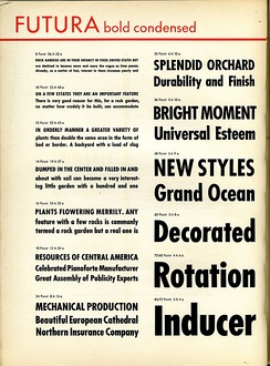 A metal type specimen sheet of Futura Bold Condensed. Many styles and weights of Futura were rapidly created as a brand extension.