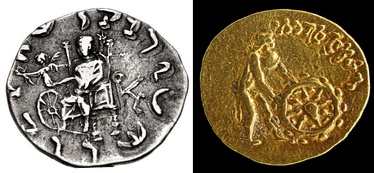 "Greek Gods and the ""Wheel of the Law"" or Dharmachakra: Left: Zeus holding Nike, who hands a victory wreath over a Dharmachakra (coin of Menander II). Right: Divinity wearing chlamys and petasus pushing a Dharmachakra, with legend ""He who sets in motion the Wheel of the Law"" (Tillya Tepe Buddhist coin)."