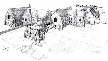 A modern reconstruction of Havering Palace as it would probably have appeared in 1578, viewed from the north-east.