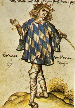 Bavarian herald Joerg Rugenn wearing a tabard of the Coat of arms of Bavaria, around 1510.