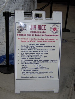 The sign at McCoy Stadium inviting fans to sign the jersey