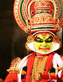 Close-up of a Kathakali performer