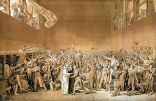 Le serment du jeu de Paume par David - The oath of the Jeu de Paume by Jacques-Louis David -- Joseph Martin-Dauch is seated in the lower right with his arms crossed and his head bowed..