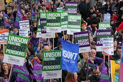 Public sector workers in Leeds striking over pension changes by the government in November 2011