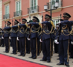 Soldiers of the Angolan Armed Forces in full dress uniform.