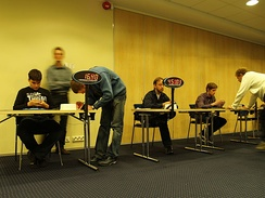 Speedsolvers solving Megaminxes at the 2011 Estonian Open.