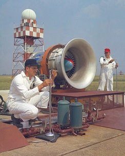 NASA researchers at Glenn Research Center conducting tests on aircraft engine noise in 1967