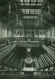 The old chamber of the House of Commons was in use between 1852 and 1941, when it was destroyed by German bombs in the course of the Second World War.