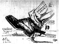 Political cartoon showing organized labor marching towards progress, while a shortsighted employer tries to stop labor (1913)