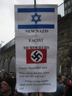 A sign held at a protest in Edinburgh, Scotland, on 10 January 2009