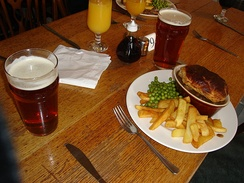 Pub grub – a pie, along with a pint of beer