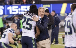Pete Carroll embracing Richard Sherman at Super Bowl XLVIII