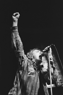 Johnny Rotten on stage, January 1977