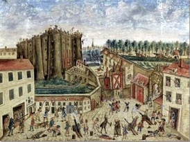 An eye witness painting of the siege of the Bastille by Claude Cholat[S]