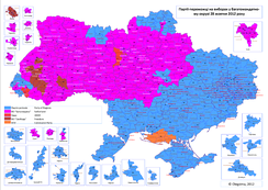 Results of the 2012 parliamentary election Yanukovych's Party of Regions in blue. Batkivshchyna in purple.
