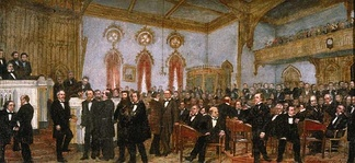 'Signing the Ordinance of Secession of Louisiana, January 26, 1861', oil on canvas painting, 1861