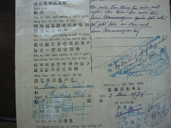 Vietnamese birth certificate in 1938 showing different scripts in descending frequency: chữ quốc ngữ, chữ Nôm, chữ nho, French