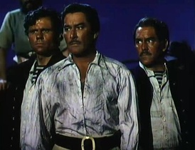 L-R: John Alderson, Errol Flynn and Phil Tully in Against All Flags (1952)
