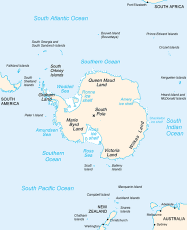 Antarctica and surrounding islands, showing Tierra del Fuego and the Auckland Islands