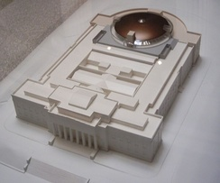Model of the museum, the new copper dome at the rear.