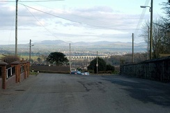 Craigmore Viaduct with the Mournes in the distance, seen from Bessbrook near Newry station.