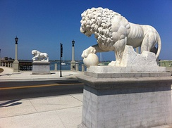 Replicas of the Medici lions of Florence, Italy at the approach to the Bridge of Lions donated by Andrew Anderson