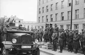 German–Soviet military parade in Brest-Litovsk at the conclusion of the Invasion of Poland. In the center Major General Heinz Guderian from Wehrmacht and Brigadier Semyon Krivoshein from the Red Army