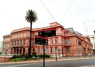 "Casa Rosada, or the ""Pink House"", in Buenos Aires, built between 1713 and 1855 as a fort and then customs house, is the official residence and office of the President of Argentina."