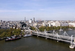Trains to and from Charing Cross go over Hungerford Bridge to cross the River Thames.
