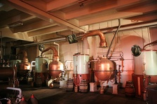 Old style pot stills no longer in regular use, having been replaced by stainless steel stills