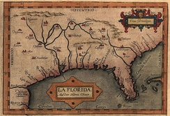 Map of Florida, likely based on the expeditions of Hernando de Soto (1539–1543)
