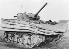 1944 Sherman DD (Duplex Drive) amphibious tank with float screens lowered