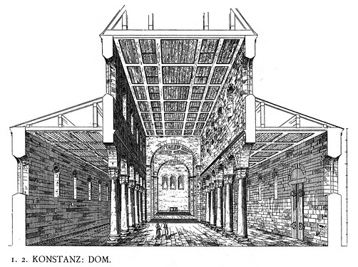 This drawing is a reconstruction by Dehio of the appearance of the Romanesque Konstanz Cathedral before its alterations in the Gothic style. It has a typical elevation of nave and aisles with wooden panelled ceilings and an apsidal east end.