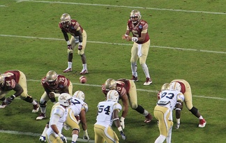 The Florida State Seminoles and Georgia Tech Yellow Jackets during the 2014 ACC Championship Game