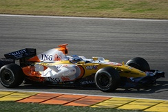 Former double world champion Fernando Alonso tests the Renault R28 at Valencia.