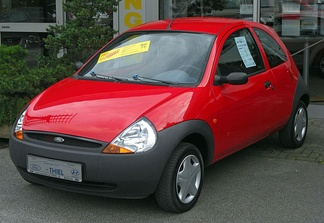 A first-generation Ford Ka, one of the most popular vehicles produced in Ford's New Edge style