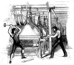 "Later interpretation of machine breaking (1812), showing two men superimposed on an 1844 engraving from the Penny magazine which shows a post 1820s Jacquard loom.[c] Machine-breaking was criminalised by the Parliament of the United Kingdom as early as 1721, the penalty being penal transportation, but as a result of continued opposition to mechanisation the Frame Breaking Act 1812 made the death penalty available: see ""criminal damage in English law""."