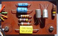 Inside view of the pedal showing the comparatively simple two-transistor circuit board. The transistors in this model are the NKT275 germanium variety.