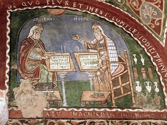 Mural painting showing Galen and Hippocrates. 12th century; Anagni, Italy