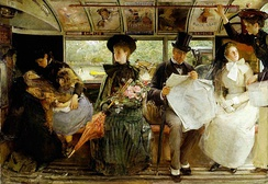 George William Joy's depiction of the interior of a late 19th Century omnibus conspicuously shows the advertisements placed overhead
