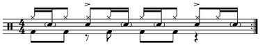 Ghost note drumming Play (help·info): features various drum strokes including accented, sixteenth-note subdivision, closed hi-hat, and ghost notes.