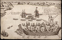 The first European impression of Māori, at Murderers' Bay. Drawing by Isaack Gilsemans in Abel Tasman's travel journal (1642).[63]