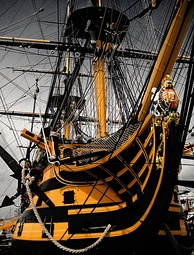 HMS Victory, Nelson's flagship at Trafalgar, is still a commissioned Royal Navy ship, although she is now permanently kept in dry-dock