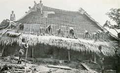 Thatching with palm leaf mats, early 20th century